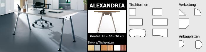 Tischformen der Serie Alexandria - als Beistelltisch oder Computertisch verwendbar